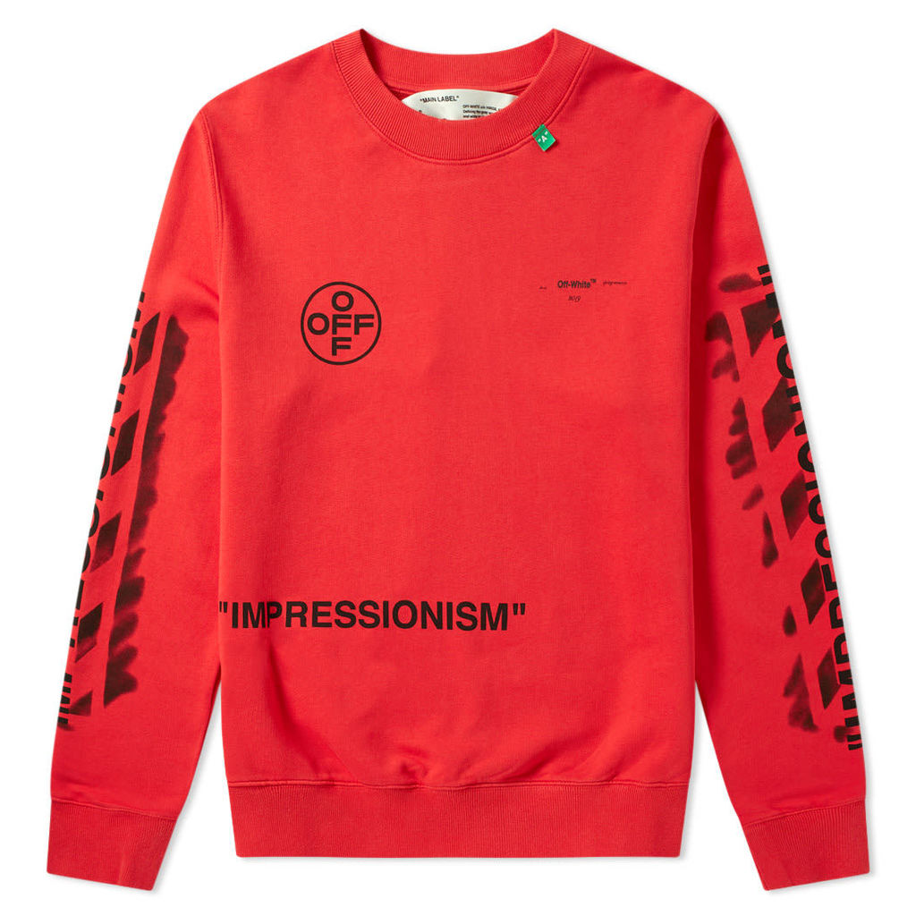Off-White Stencil Diagonals Crew Sweat Red & Black