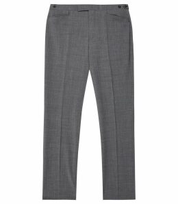 Reiss Believer - Wool Blend Modern Fit Trousers in Soft Grey, Mens, Size 38