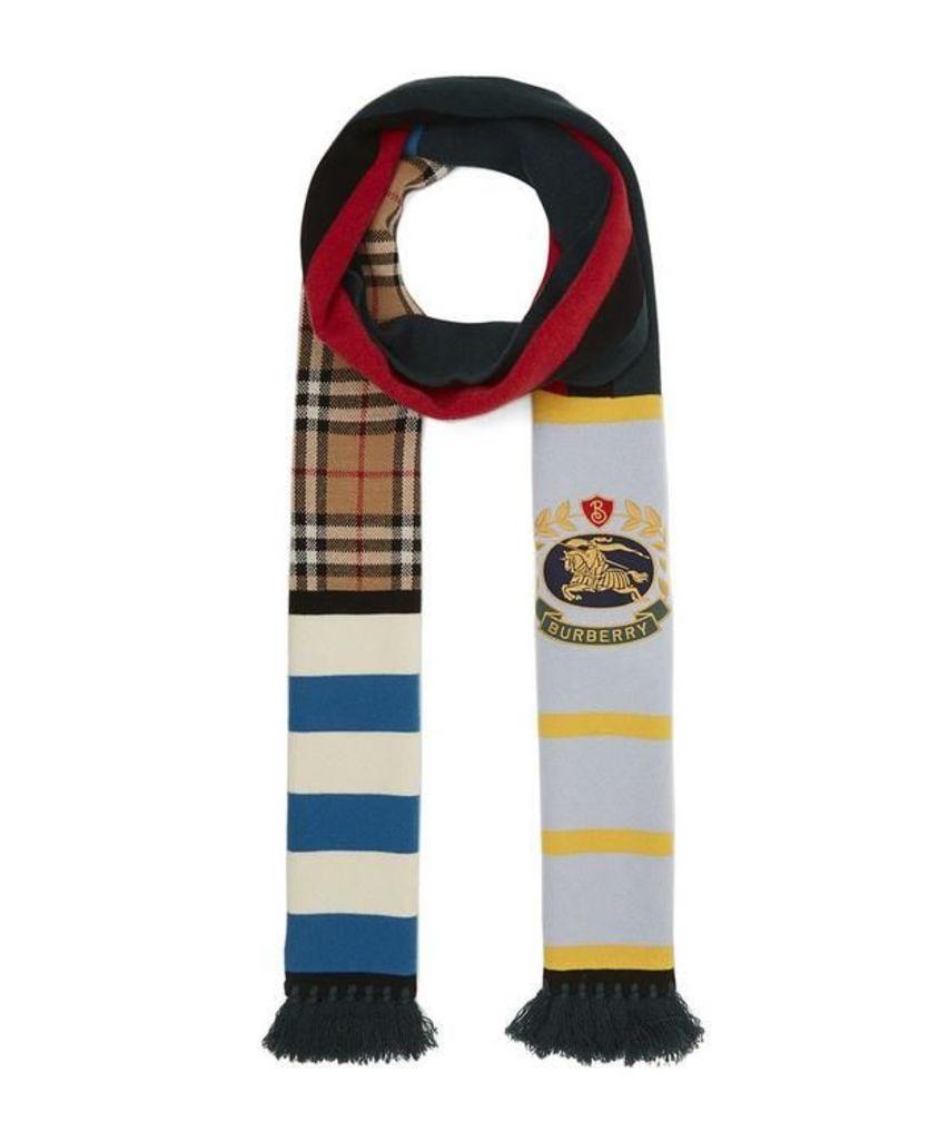 Vintage Football Crest Cashmere Knit Scarf