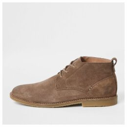 Mens River Island Beige suede eyelet chukka boots