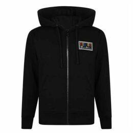 Versus Versace Logo Patch Zip Hooded Sweatshirt