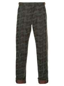Comme Des Garçons Pre-Owned mixed-print cropped trousers - Brown