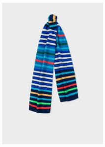 Men's Navy Multi-Coloured Stripe Wool Scarf