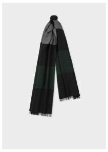 Men's Black Stripe Herringbone Motif Wool-Blend Scarf