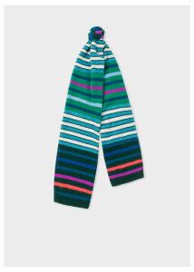 Men's Green Multi-Coloured Stripe Wool Scarf