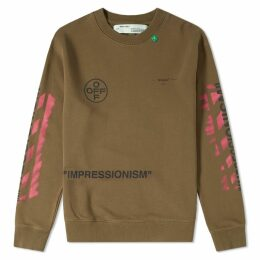 Off-White Stencil Diagonals Crew Sweat Olive & Pink