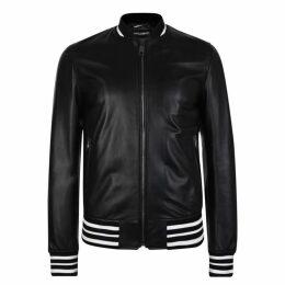 Dolce and Gabbana Leather Bomber Jacket
