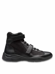Prada Leather and fabric high-top sneakers - Black