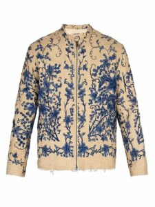 By Walid - Floral Embroidered Quilted Silk Jacket - Mens - Blue Beige