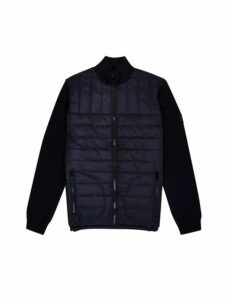 Mens Navy Funnel Neck Knitted Jacket, Blue