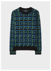 Men's Blue And Green Geometric Merino Wool-Blend Sweater