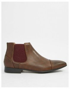 Truffle Collection Chelsea Boot with Paisley Gusset in Brown
