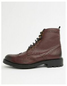 WALK London Sean brogue boots in burgundy leather