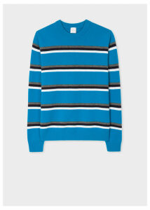 Men's Blue Stripe Lambswool Sweater
