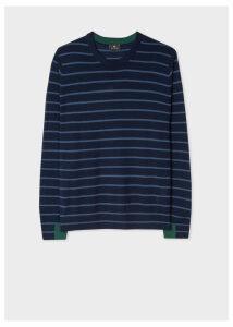 Men's Navy Thin Stripe Merino Wool Sweater