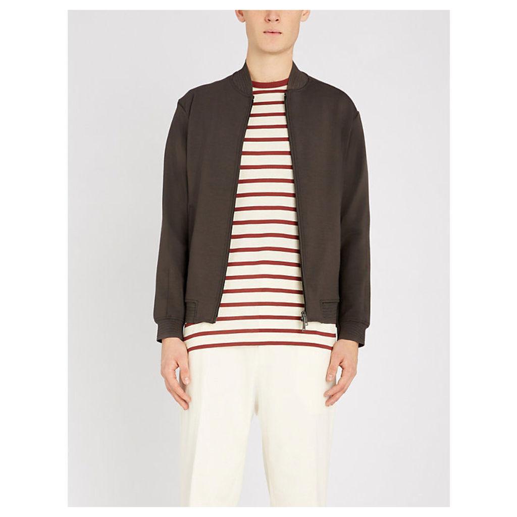 Side-seam stretch-jersey bomber jacket