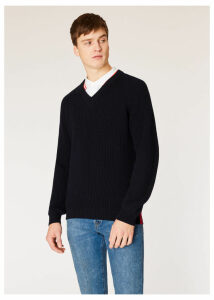 Men's Dark Navy Ribbed V-Neck Sweater