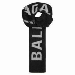 Balenciaga Black Logo-intarsia Wool Scarf