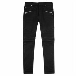 Balmain Black Slim-leg Waxed Jeans