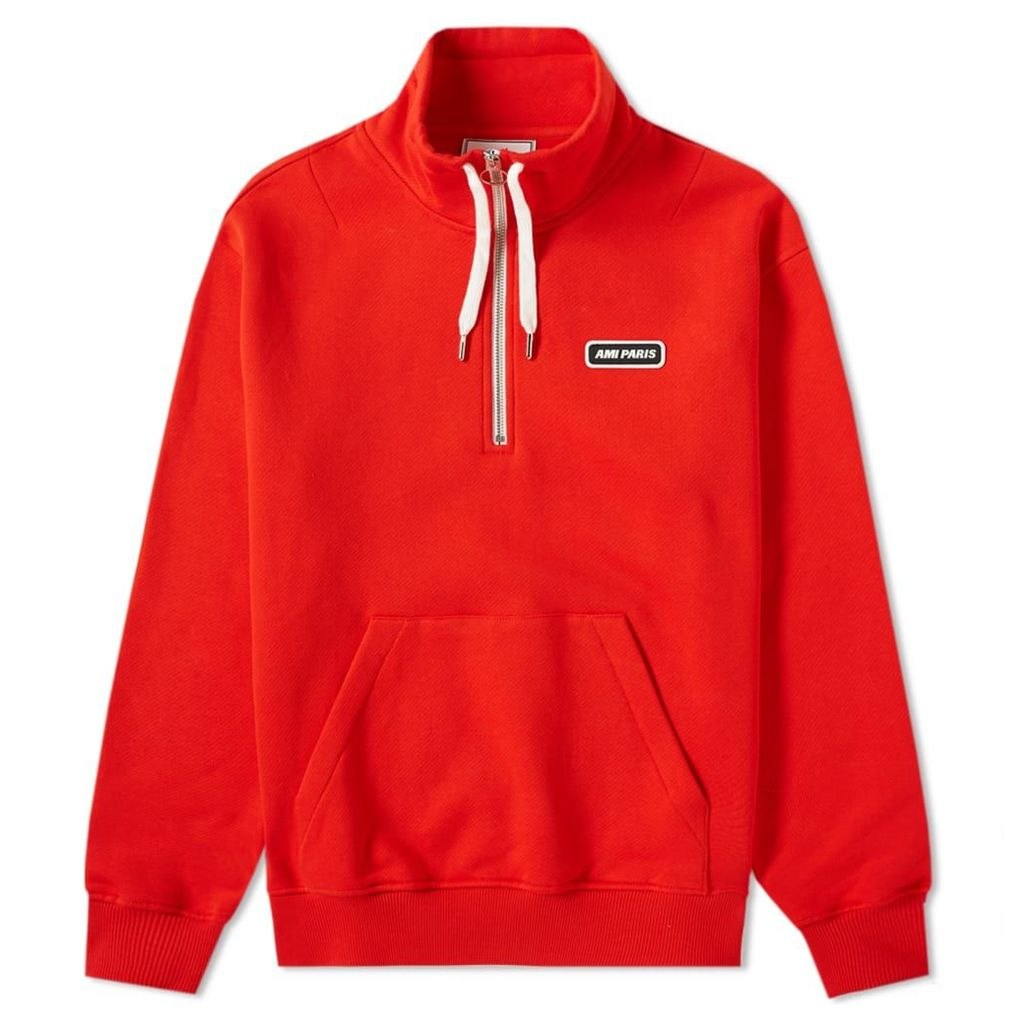 AMI Drawstring Quarter Zip Sweat Red