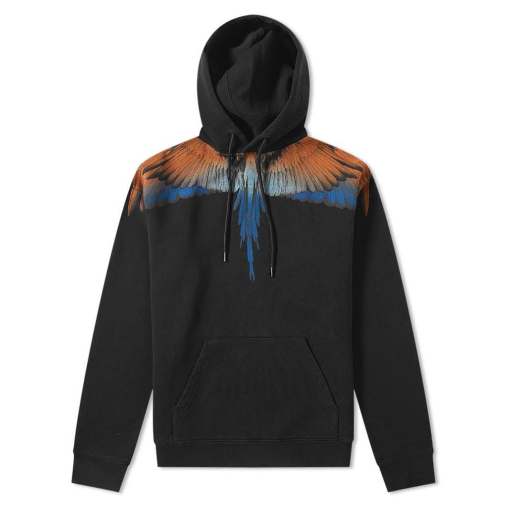 Marcelo Burlon Wings Shoulder Popover Hoody Black & Orange