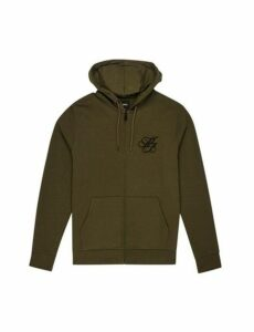Mens Khaki 'Mb' Embroidered Zip Through Hoodie, Khaki