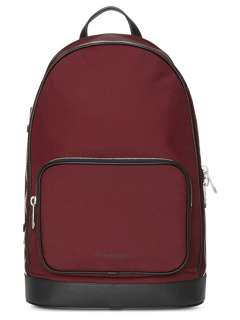 Burberry Heritage Stripe Detail Nylon Backpack - Red