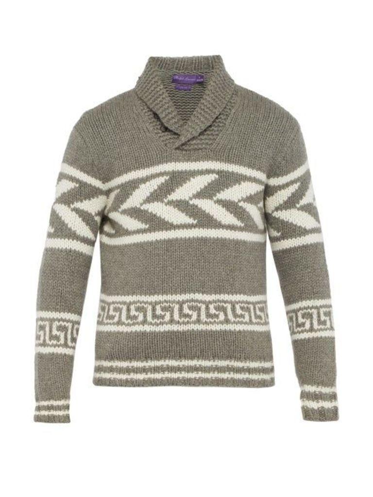 Ralph Lauren Purple Label - Intarsia Knit Cashmere Sweater - Mens - Grey