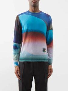 Valentino - Logo Print Wool Blend Track Pants - Mens - Navy