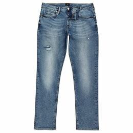 Mens River Island Mid Blue Dylan distressed slim fit jeans