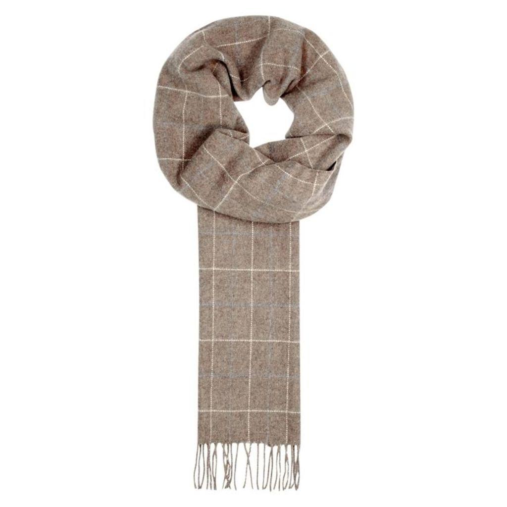 Eton Taupe Checked Wool Scarf