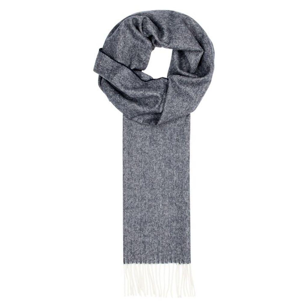 Eton Navy Herringbone Wool Scarf