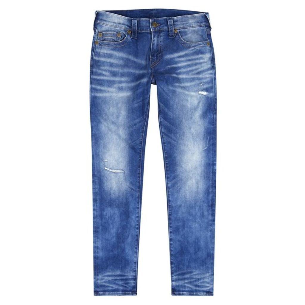 True Religion Rocco Blue Distressed Slim-leg Jean