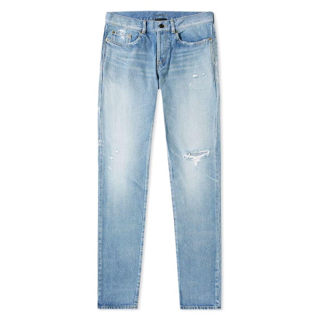 Saint Laurent Slim Fit Holes Jean Dirty Used Blue Wash