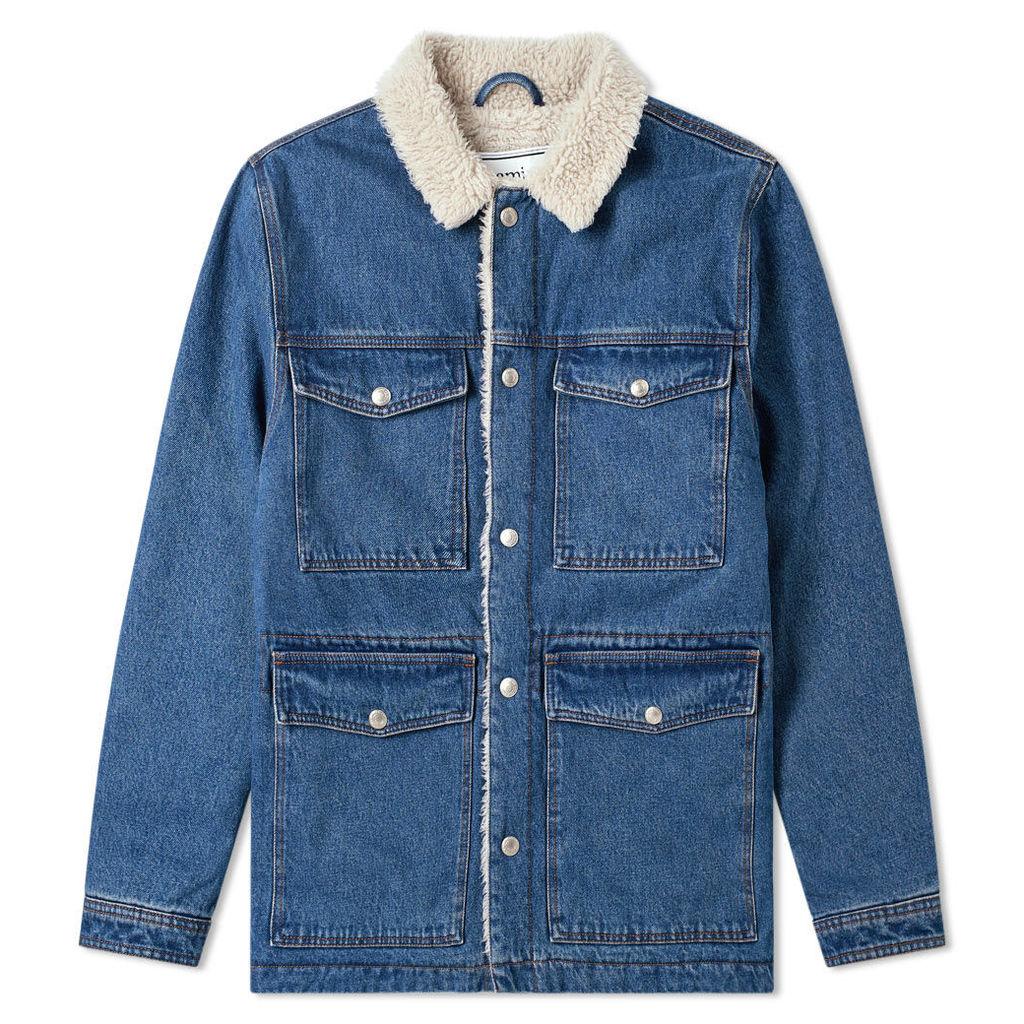 AMI Sherpa Lined Denim Jacket Washed Blue