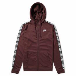 Nike Repeat Poly Zip Hoody Burgundy Crush & White