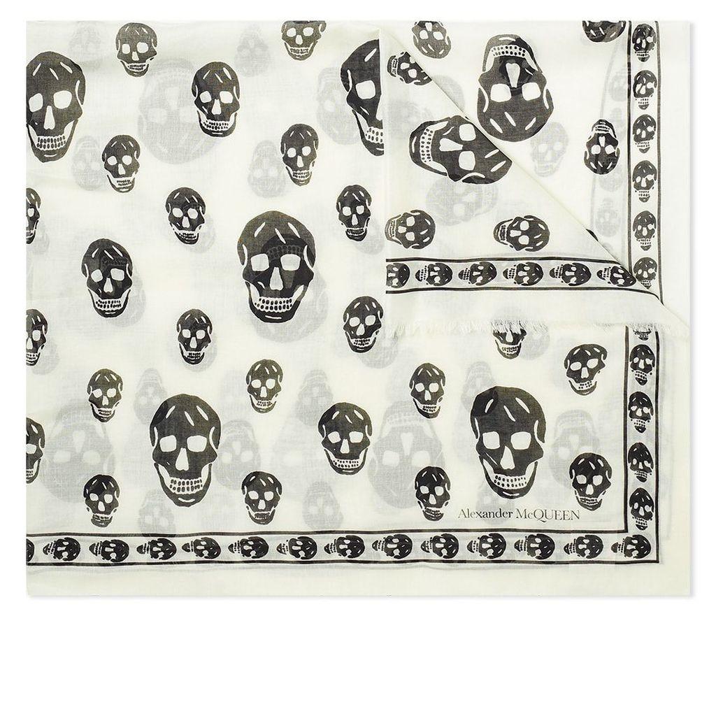 Alexander McQueen Skull Pashmina Scarf Ivory & Black