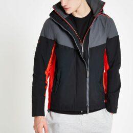 Mens River Island Superdry Black hooded zip-up jacket