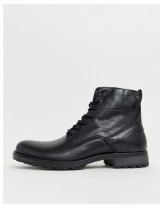 Jack & Jones leather lace up boots