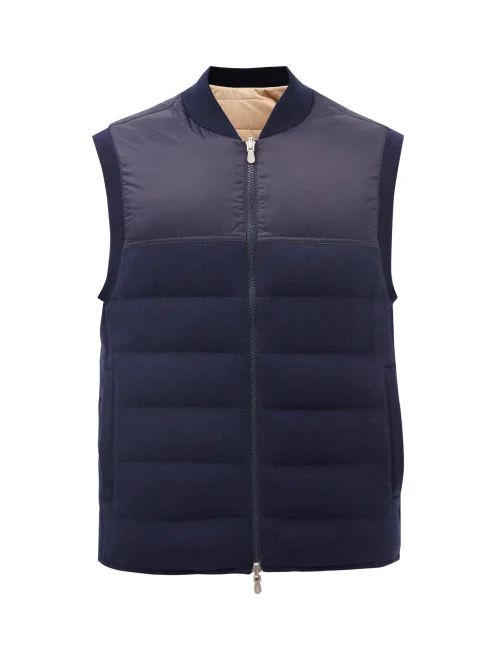 7 Moncler Fragment - High Shine Quilted Down Gilet - Mens - Blue