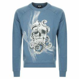 Cavalli Class Crew Neck Skull Sweatshirt Blue
