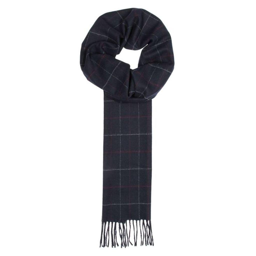 Eton Navy Checked Wool Scarf