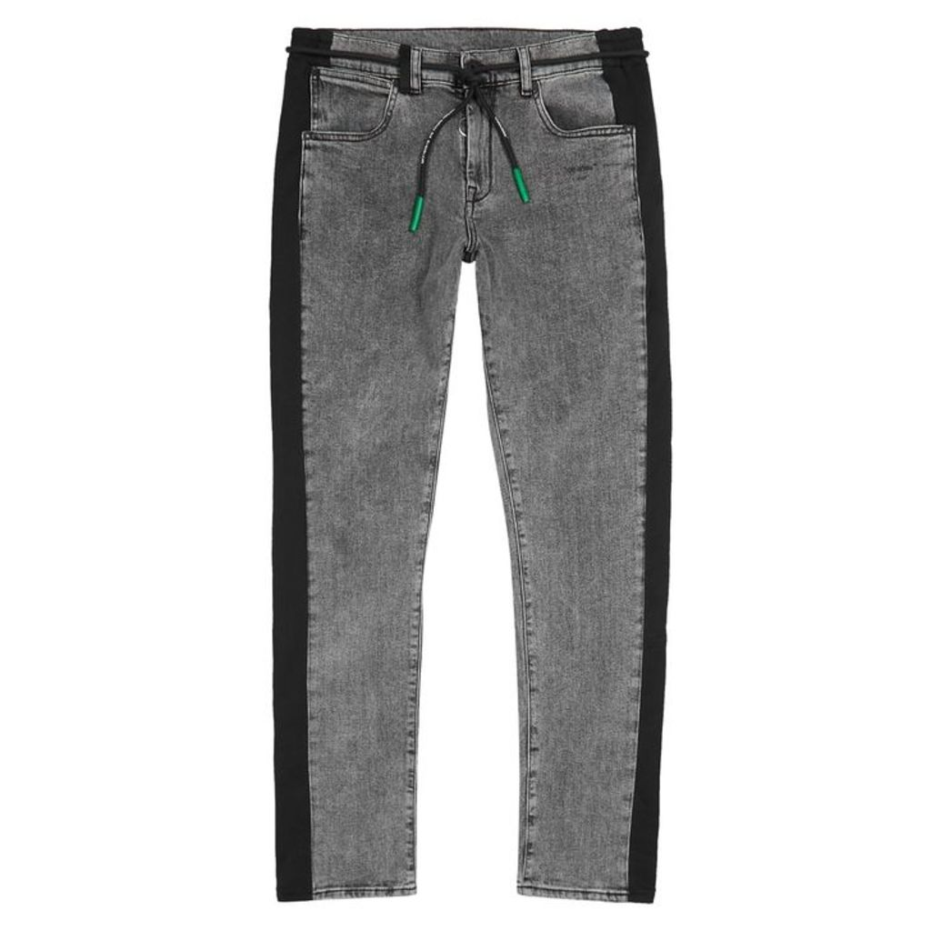 Off-White Grey Jersey-trimmed Slim-leg Jeans