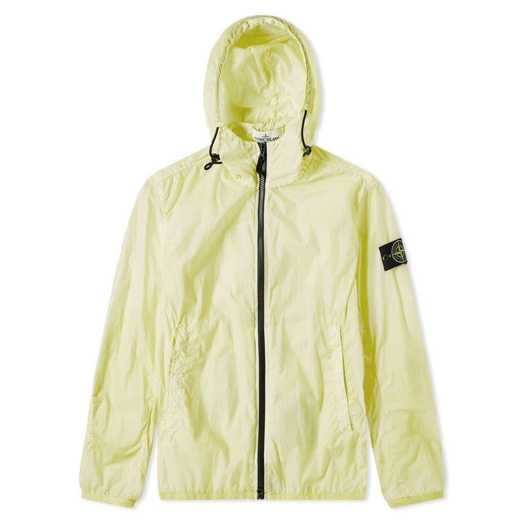 Stone Island Lamy Velour Zip Hooded Shell Jacket Lemon