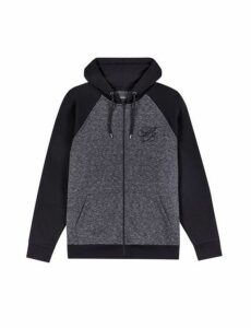 Mens Black And Grey Mb Embroidery Zip Through Hoodie, Charcoal