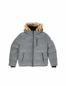 Mens Big & Tall Grey Birch Faux Fur Hooded Puffer Jacket, Grey