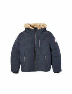 Mens Big & Tall Navy Birch Faux Fur Hooded Padded Jacket, Blue