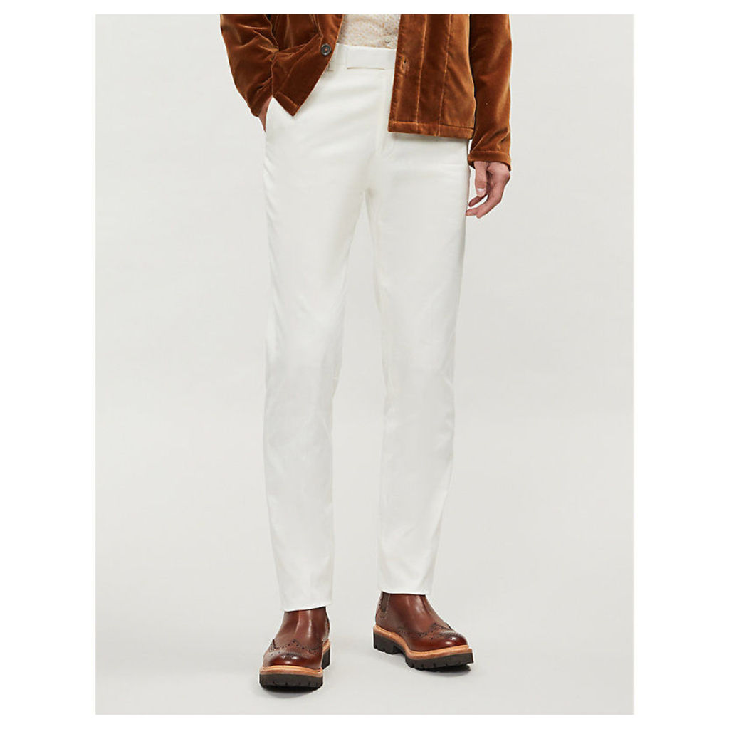 Regular-fit tapered stretch-cotton trousers