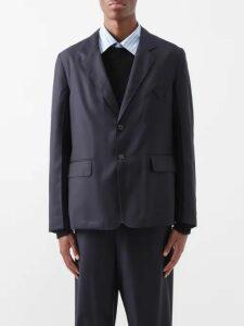 Prada - Relaxed Fit Virgin Wool Trousers - Mens - Blue