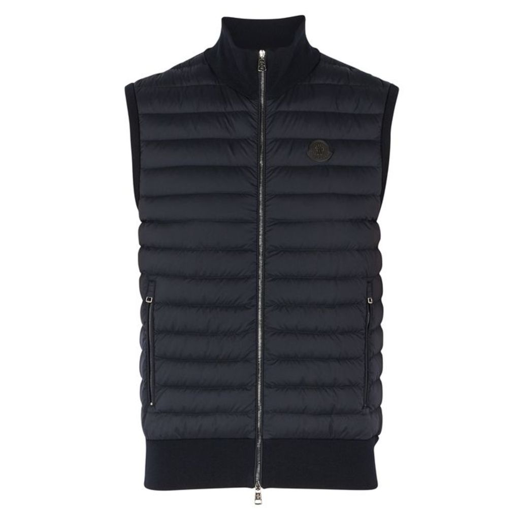Moncler Navy Shell And Stretch-knit Gilet